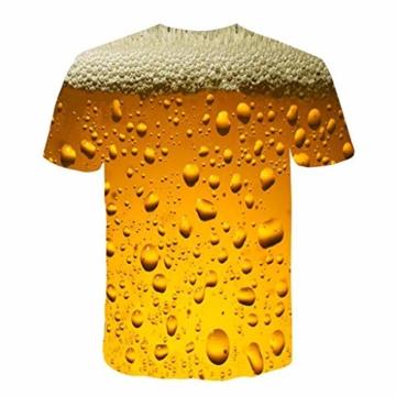 Battnot Herren T Shirt, 3D Bier Gedruckt Basic Gelb Große Größen Mens Kurze Ärmel Kurzarm Rundhalsausschnitt Pullover Tops Männer Beer Print Modern Oversize Slim Fit Sport Bluse m 3XL - 2