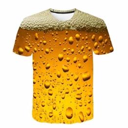 Battnot Herren T Shirt, 3D Bier Gedruckt Basic Gelb Große Größen Mens Kurze Ärmel Kurzarm Rundhalsausschnitt Pullover Tops Männer Beer Print Modern Oversize Slim Fit Sport Bluse m 3XL - 1