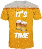 EUDOLAH Herren Bunt Galaxy T-Shirt Sport Rundhals Spaß Motiv Tops (Größe L (Tag XL), A-Bier)