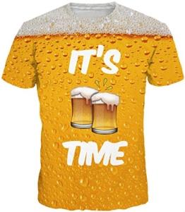 EUDOLAH Herren Bunt Galaxy T-Shirt Sport Rundhals Spaß Motiv Tops (Größe L (Tag XL), A-Bier) - 1