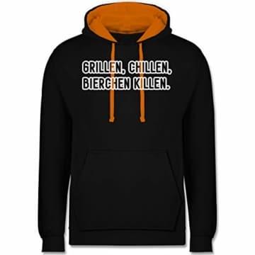 Grill - Grillen, chillen, Bierchen Killen - L - Schwarz/Orange - JH003 - Kontrast Hoodie - 1