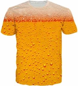 Loveternal Gold Bier T-Shirt 3D Muster Gedruckt Casual Grafik Kurzarm Tops Tees für Frauen Männer L - 1