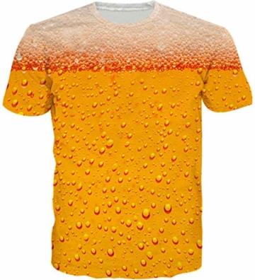 Loveternal Gold Bier T-Shirt 3D Muster Gedruckt Casual Grafik Kurzarm Tops Tees für Frauen Männer L