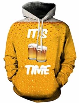 Loveternal Unisex Kapuzenpullover Herren 3D Print Bier Hoodie Pullover Langarmshirts Leichte Sweatshirts mit Taschen L/XL - 1