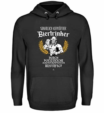 Lustig von Polizei staatlich geprüfter Biertrinker Bier Bierkrug T-Shirt Alkohol Geschenk – Unisex Kapuzenpullover Hoodie -M-Jet Schwarz