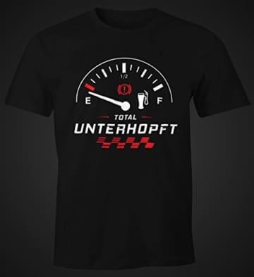 MoonWorks Herren T-Shirt Total Unterhopft Bier Tankanzeige Tacho Fun-Shirt schwarz XL